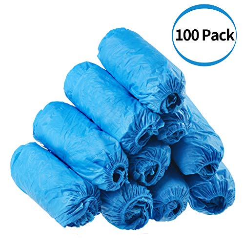 Dssiy 100 Pack Disposable Hygienic Shoe & Boot Covers for Medical, Construction, Workplace, Indoor Carpet Floor Protection,One Size Fits Most. ()