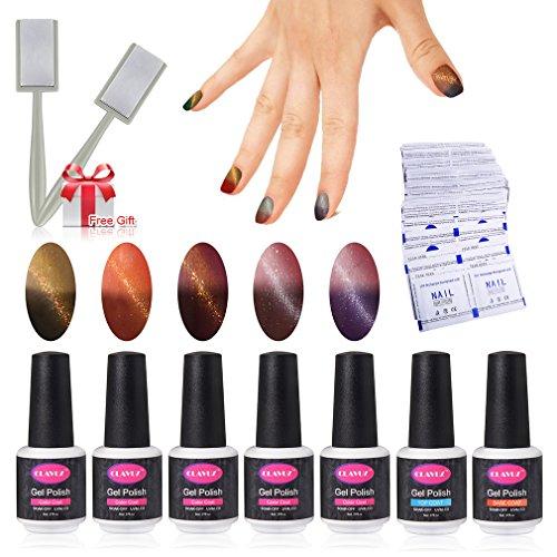 Gel Nail Polish Set 5pcs Magnetic Color Changing Nail Polish Top and Base Coat with 50 pcs Remover Soak Off UV LED Nail Art Kit by (Halloween Black Cat Nails)