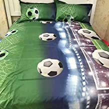 4pieces Sport Soccer Football Duvet Cover, Pillow Case and Sheet - Full Size Wrinkle & Fade Resistant Super Soft, Comfortable and Machine Washable(comforter Not Included)、 (5)