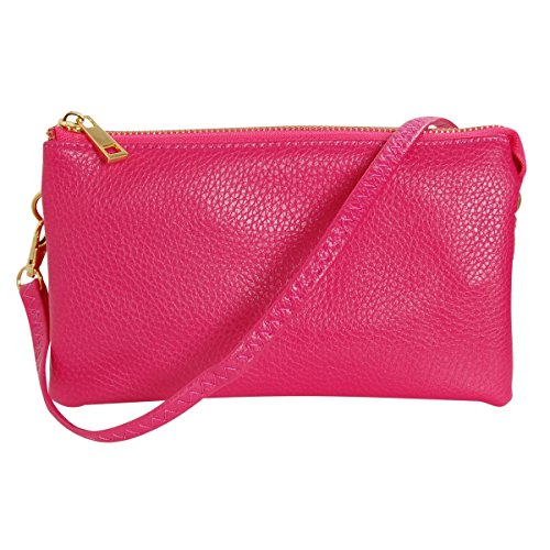 Fuchsia Pink Leather - Humble Chic Vegan Leather Small Crossbody Bag or Wristlet Clutch Purse, Includes Adjustable Shoulder and Wrist Straps, Fuchsia, Hot Pink, Bright Magenta