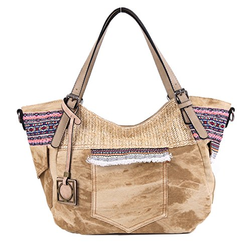 Angelkiss 2 Top Zippers Multi Pockets Handbags Washed Leather Purses Shoulder Bags Backpack AK678 beige