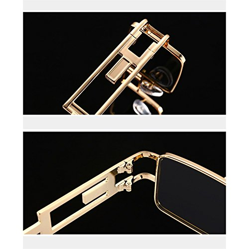 dada075b6dabb Amazon.com  Peekaboo Steampunk Sun glasses Rectangle Men Gold Black Red  Flat Top Square Sunglasses Inspired Metal Frame Glasses for Women 2018 ( Black)  ...