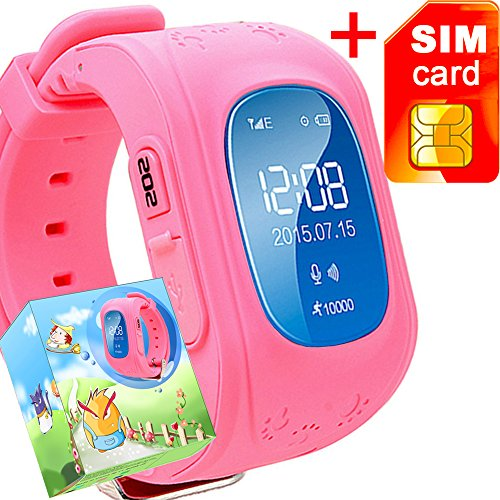 GBD GPS Tracker Smart Watch for Kids with Sim Card Smartwatch Phone Anti-lost Finder SOS Gprs Children Fitness Tracker Wrist Watch Bracelet with Pedometer Parents Control App for Smartphone(Pink)