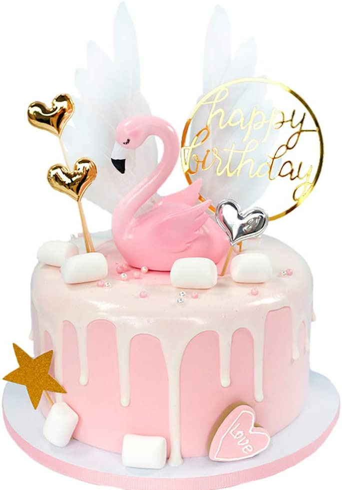 Superb Amazon Com Riverbyland Flamingo Cake Topper Pink Wedding Cake Personalised Birthday Cards Veneteletsinfo