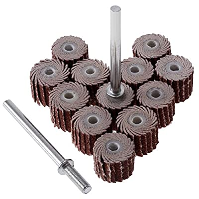 "12Pcs 120 Grit Flap Sanding Wheel Head Grinding Disc (10mm/0.39"") with 2 of 3mm Arbor for Rotary Tool"