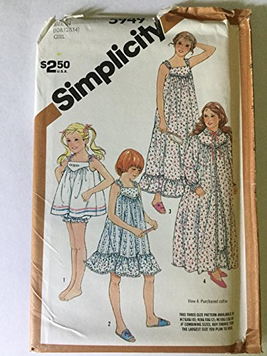 Simplicity 5949 Sewing Pattern for V-yoked Gathered Nightgown in 2 Lengths & Baby Doll Pajamas & Robe in Girls Sizes 10-12-14 (Gathered Robe)