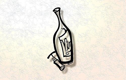 9w Art (Vino Bottle 3D-Metal Wall Art Backer Art Off the Wall- 23