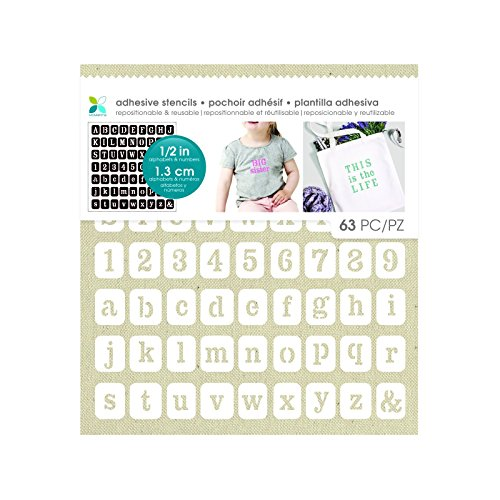 Momenta Serif Alphabet & Numbers Adhesive Fabric Stencil, (Lowercase Alphabet Stencils)