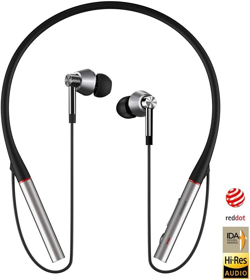 1MORE Triple Driver In-Ear Headphones Bluetooth Earphones with Hi-Res LDAC Wireless Sound Quality Environmental Noise Isolation Fast Charging Volume Controls with Microphone E1001BT Silver