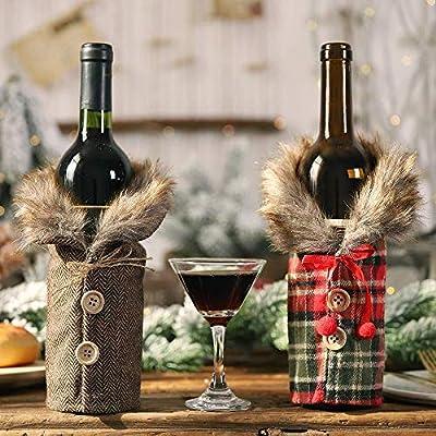 Tapa De Botella De Vino De Navidad 2 Piezas Decoración De Bolsa De Botella De Vino De Mesa Falda A Rayas Y Cuadros Regalo De Navidad Para Decoración De Fiesta En Casa: