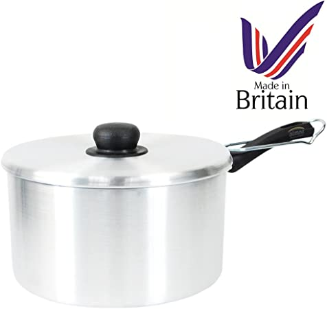 MADE IN UK Aluminium 22cm Non Stick Chip Pan with Basket Fryer Saucepan