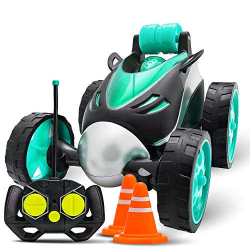 Atlasonix Remote Control Car for Boys - RC Stunt Car Toy | 4-Wheel Drive Car Spins and Flips | Indoor and Outdoor w/ Bonus - 6 Traffic Cones | Gift for Kids 3-10 | Size 7 x 5 in