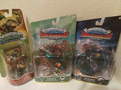 Superchargers 3 pack Skylanders 360 Swap force character pack Scorp, Sea Shadow Vehicle & buzz wing, Bundle