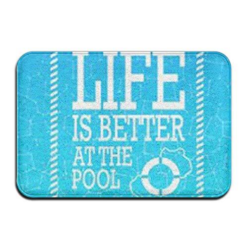 ATRXZ Non Slip Door Mat Outdoor, Decorative Garden Door Mat, Life is Better at The Pool Theme Durable 40 X 60 Bath Mat Non Skid Indoor/Outdoor/Front Entrance Doormats Bathroom Kitchen Decor Rug Mat ()