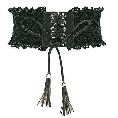 Women's Lace Belt Elastic Waist Band Cincher Lace-up Corset Bowknot Tassel Pendant Decor Design for Fashion Costume