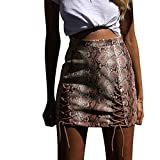 Thenxin Womens Snake Print Strapped Mini Skirt High Sexy Waist Bodycon Clubwear Skater (Beige,L)
