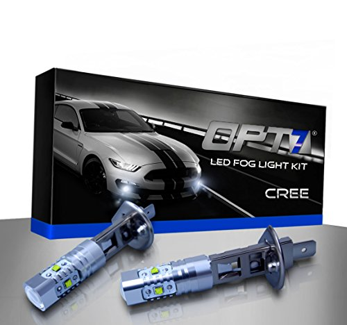 OPT7 H1 CREE LED DRL Fog Light Bulbs - 5000K Bright White @ 700 Lm per bulb - (03 Eclipse Projector Hid Lights)