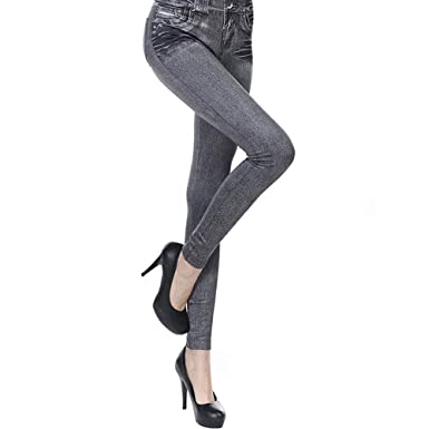 9122f98efb4831 ZM Leggings for Women Jeans Look Jeggings for Women Plus Size Leggings Denim  Washed Women's Leggings
