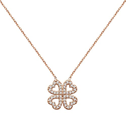 DTLA Sterling Silver Four Leaf Clover Pendant Necklace with Cubic Zirconia – 18 Chain