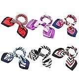 BMC 6 pc Womens Large Size Mixed Color Design Soft Wrap Scarf Accessories - Set 1: Linear Designs