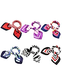 BMC 6 pc Womens Large Size Mixed Color Design Soft Wrap Scarf Accessories - Set 1: Linear Designs
