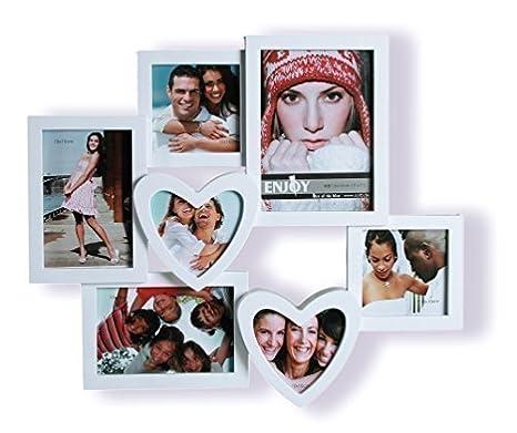 Marco de Fotos 3 D Fotos con corazones, para 7 Fotos - imágenes de corazón blanco: Amazon.es: Hogar