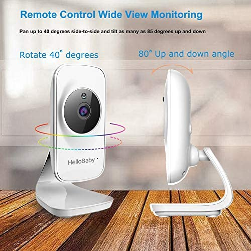 """51A0FV6MuWL. AC - Video Baby Monitor With Camera And Audio, 5"""" Color LCD Screen, HelloBaby Monitor Camera, Infrared Night Vision, Temperature Display, Lullaby, Two Way Audio And VOX Mode"""