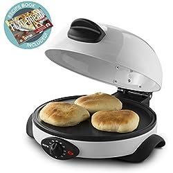 Gourmia Electric Flatbread, Pita and Tortilla Maker - Adjustable Temperature Control Dial - Non-Stick Base & Baking Plate - Vented Dome Lid - 1500W - White - Bonus Cookbook Included - GBM3400