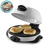 Gourmia GBM3400 Electric Flatbread, Pita and Tortilla Maker Adjustable Temperature Control Dial, Non-stick Base & Baking Plate, Vented Dome Lid Includes User Manual & Free Recipe Book
