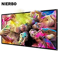 NIERBO Metal Silver Projector Screen 2.4 Gain Movies Screen 120 inch 16:9 for Home Theater
