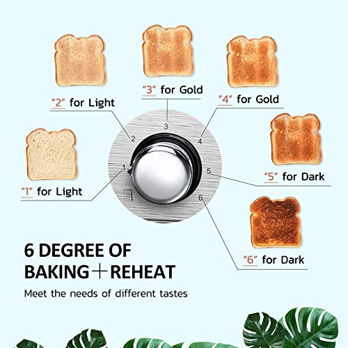 4 Slice Toaster, HOLIFE Stainless Steel Toaster [2 LCD Timer Display] Bagel Toaster (6 Bread Shade Settings, Bagel/Defrost/Reheat/Cancel Function, Wide Slots, Removable Crumb Tray, 1500W, Silver) by Holife (Image #3)