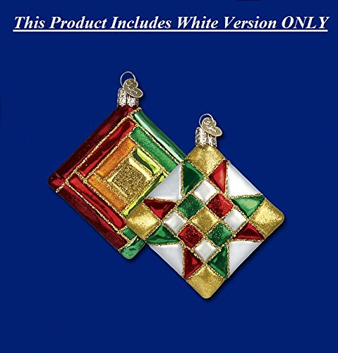 Old World Christmas Glass Blown Quilt Square w/White Star Pattern Ornament ()