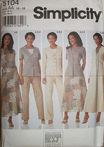 - Simplicity 5104 - Misses' Top, Jacket, Pants and Skirt Pattern Size AA (10-18)