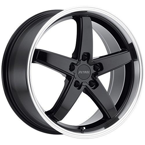 19x8.0 Petrol P1B Wheel 32mm 5x112 GLOSS BLACK W/ MACHINE CUT LIP GLOSS BLACK