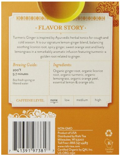 Rishi Tea Organic Turmeric Ginger Tea Bags, 15 Count  (Pack of 6) by Rishi Tea (Image #2)