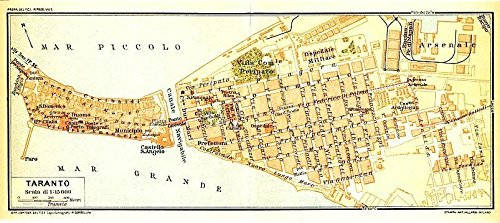 Taranto Italy 1930 color lithograph city plan (1930 Lithograph)