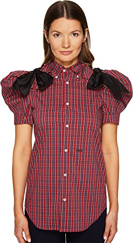 DSQUARED2 Women's Check Cotton Puff Short Sleeves Shirt Red/Blue/White (Dsquared2 Womens Clothing)