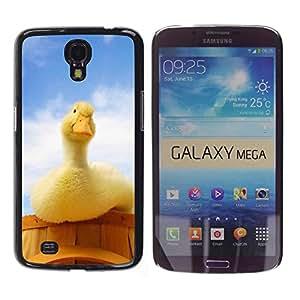 KLONGSHOP // Cubierta de piel con cierre a presión Shell trasero duro de goma Protección Caso - Pato curioso - Samsung Galaxy Mega 6.3 //