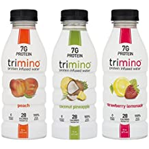 Trimino Protein Infused Water, Variety Pack, 16 Fl Oz (Pack of 12)