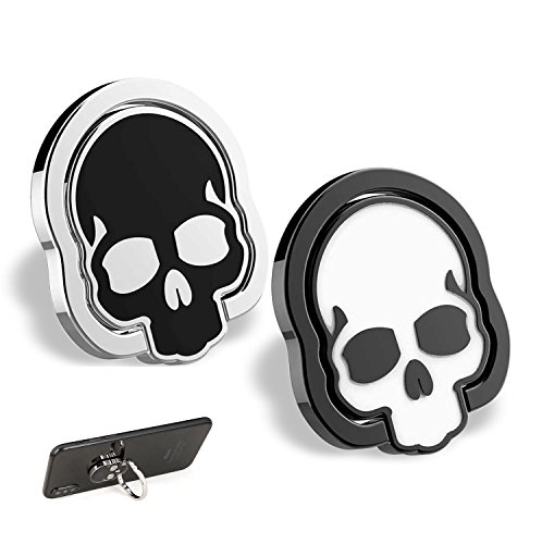 homEdge Cell Phone Skull Ring Grip, Set of 2 Packs 360° Adjustable Finger Ring Holder, Suitable for Magnetic Car Mount Kickstand for Cell Phone-Black and White