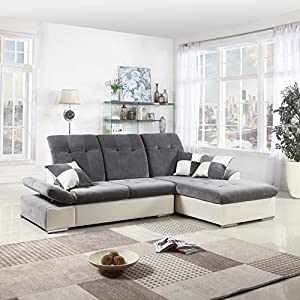 Classic Large Faux Leather and Brush Microfiber L-Shape Sectional Sofa Couch with Chaise Lounge and Adjustable Headrest