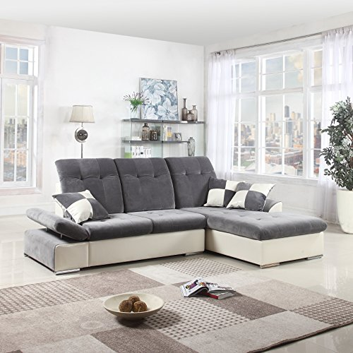 Microfiber Faux Leather (Classic Large Faux Leather and Brush Microfiber L-Shape Sectional Sofa Couch with Chaise Lounge and Adjustable Headrest (Dark Grey / White))