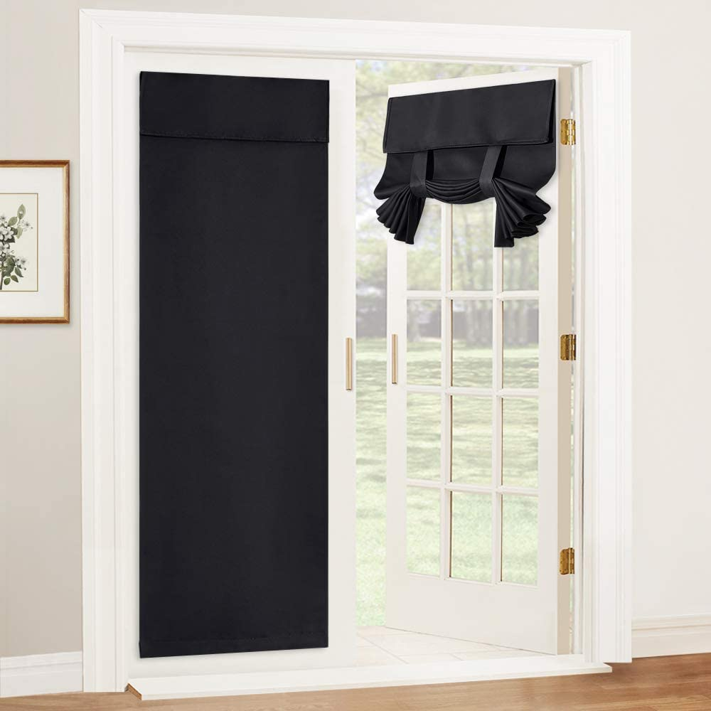 RYB HOME Blackout Door Curtain - Tricia Window Door Shades Thermal Insulated Light Block French Door Curtain Tie up Shades Energy Efficient Double Door Blind, 26 x 69 inches, Black, 1 Panel