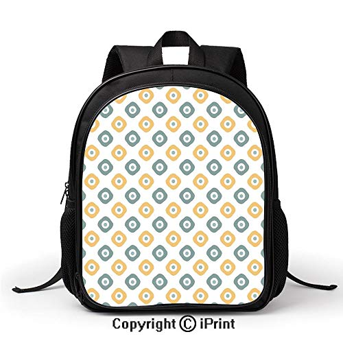 3D Printing Customized School Bag Stylish Evil Eye Bead Amulet Like Figures Cubical Rounded Dotted Backpack :Suitable for Men and Women,School,Travel,Daily use,etc,Almond Green Apricot Mustard ()