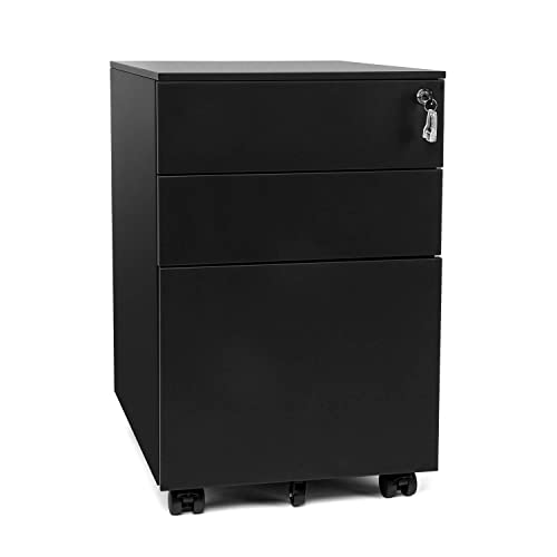 BAHOM Steel File Cabinet Organizer with 3 Drawers, Anti-collapsed Document Storage Box with Lockable Wheels, Fully Assembled – Black