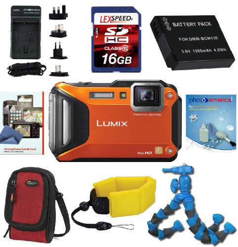 Panasonic Lumix DMC-TS5D Digital Camera (Orange) + LowePro Case (Red) + Floating Strap + Travel Charger + Battery + Flexpod + 16GB