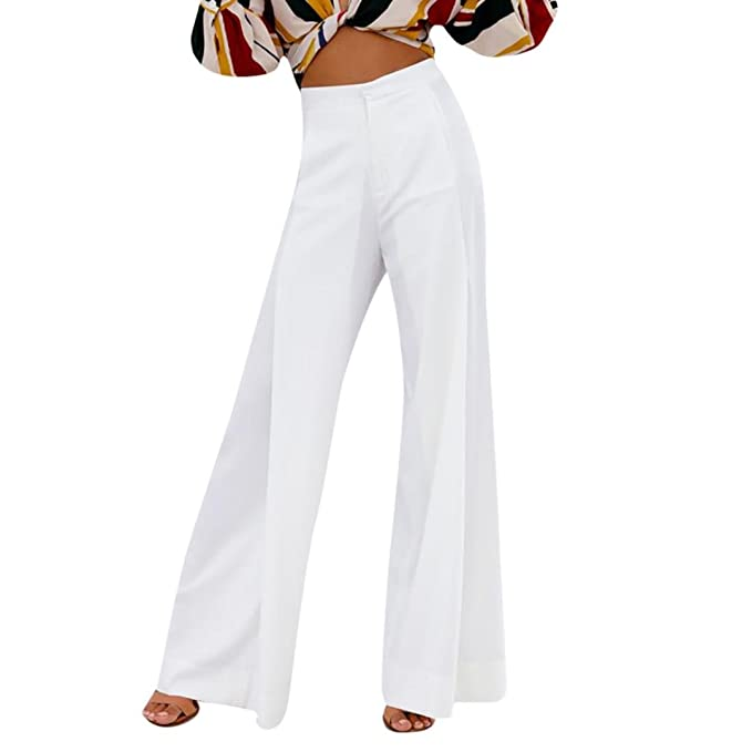 Womens Elastic High Waist Straight Leg Pants Ladies Casual Trousers Plus Size