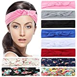 Facial Yoga Style - Headbands for women 6 solid color rabbit ear & 4 Criss Cross boho floal style headbands Elastic Hair Wraps Stretchy Hair Accessories