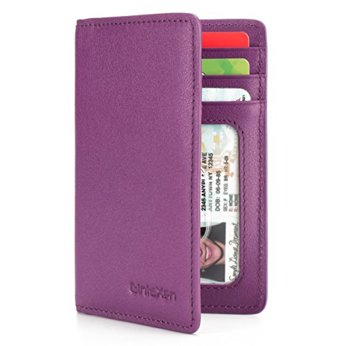 Slim Leather ID/Credit Card Holder Bifold Front Pocket Wallet with RFID Blocking - Purple