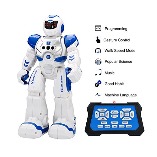 Huge Sale Distant Management Robots, Kingtoys RC Humorous Toys Robots,Interactive Strolling Singing Dancing Good Gesture Sensing Robotics for Youngsters Boys Ladies ,Blue  Opinions